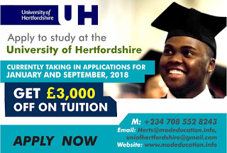 Photo of Get 3000 pounds off tuition fee at University of Hertfordshire… Apply now