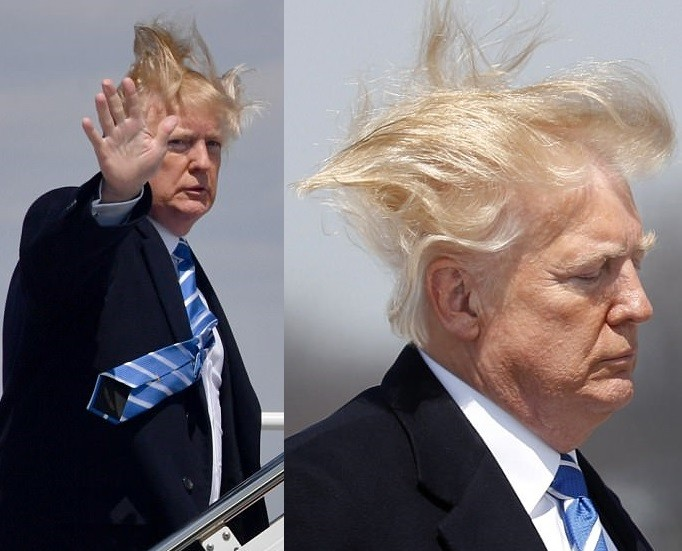 Photo of Trump's hair goes wild in wind as he boards Air Force One to West Virginia (Photos/Video)