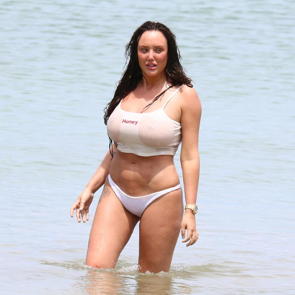 Photo of Charlotte Crosby flashes her boobs in a wet T-shirt after going for a swim in her underwear with boyfriend Joshua Ritchie