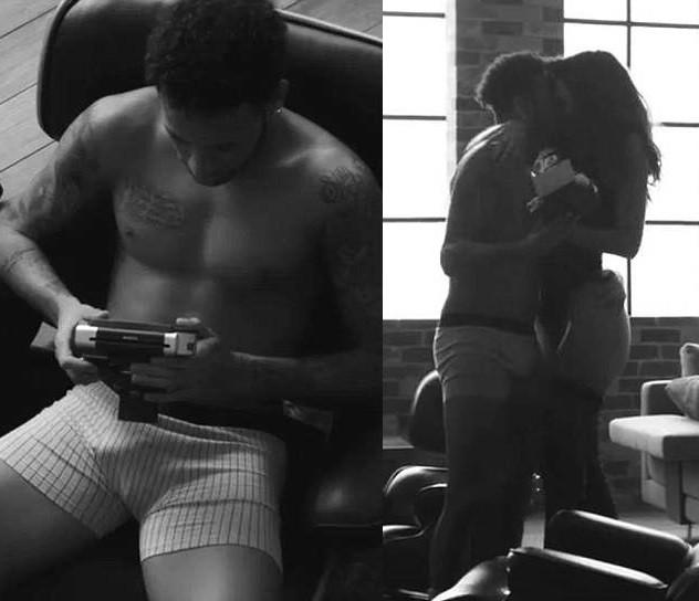 Neymar flashes his eggplant as he teams up with model girlfriend Bruna Marquezine