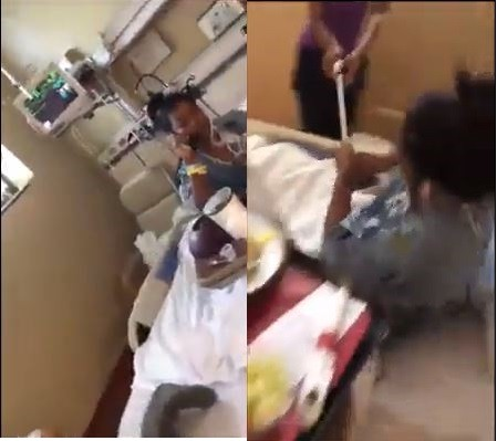 Photo of 19-year-old girl nearly gets jumped on by a group of two while on hospital bed rest (Disturbing Video)