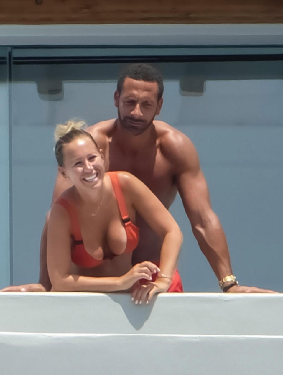 Photo of Kate Wright and Rio Ferdinand cuddle up during a romantic holiday in Mykonos