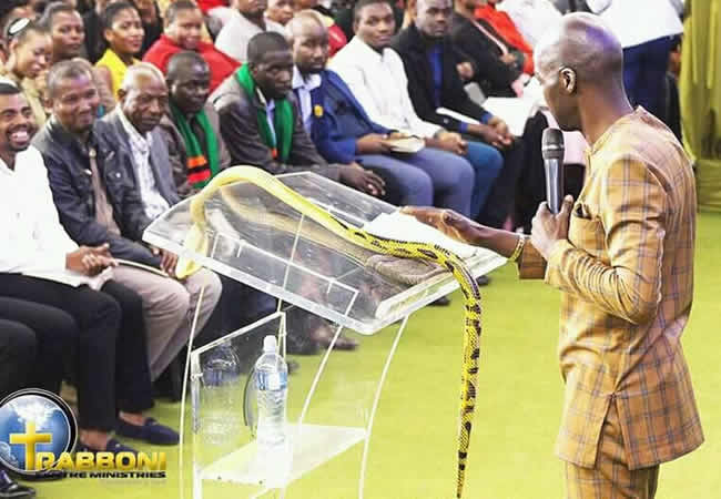 Photo of South African pastor who fed grass to worshippers, brings live snake to church