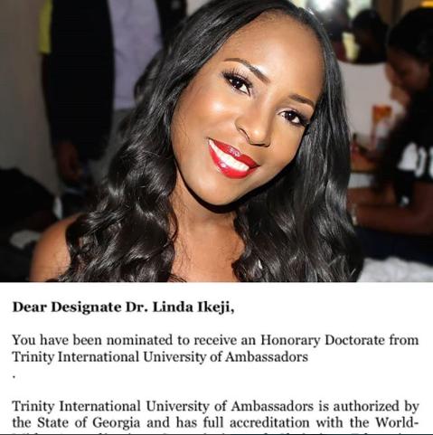 Photo of Linda Ikeji to be awarded with an Honorary Doctorate from Trinity International University of Georgia
