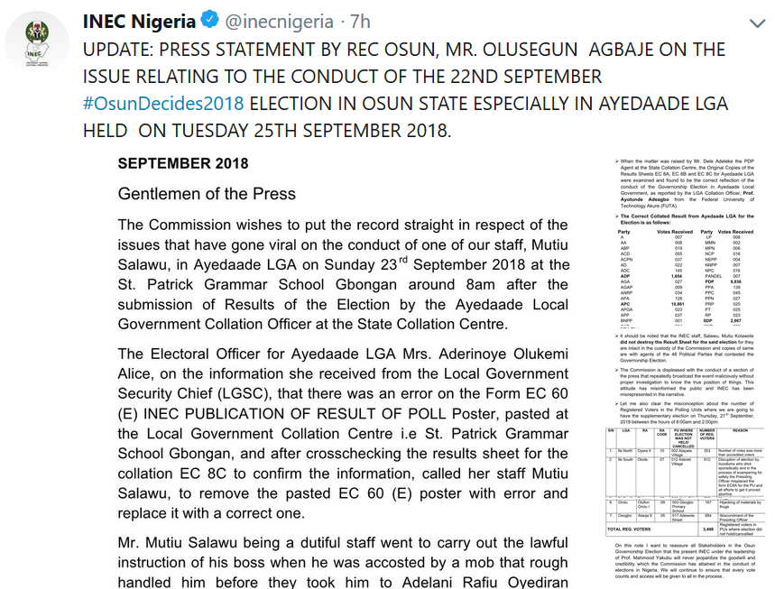 Photo of Osun governorship election: INEC admits error in vote collation in Osun election