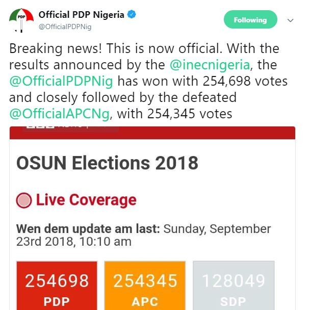 Photo of Breaking: PDP claims victory in the 2018 Osun elections