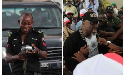 Trending photos of police officers teargassing Saraki and PDP leaders