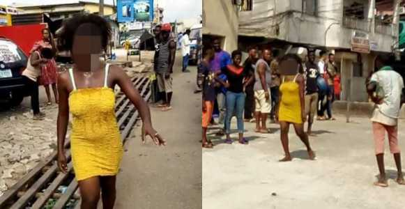 Photo of Lady runs mad after allegedly sleeping with married man (Photos)