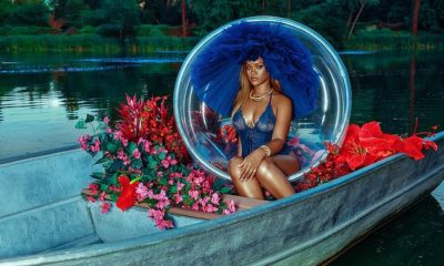 Rihanna flashes her curves as she poses in a sexy sheer bodysuit
