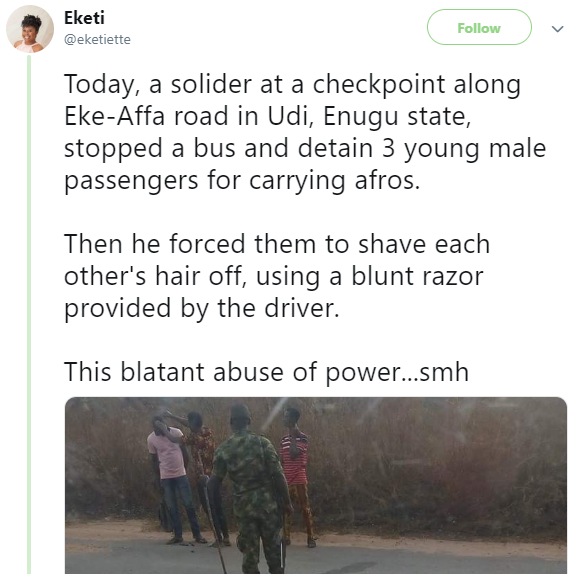 BankyW calls out Nigerian Army following reports of three men harassed by soldiers for keeping Afros in Enugu