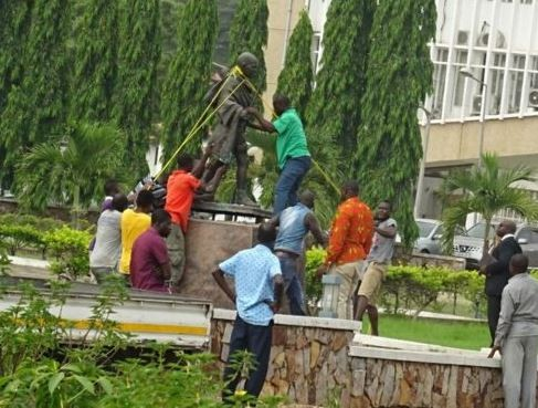 Photo of Mahatma Gandhi's statue removed from University of Ghana over claims that the Indian leader was a 'racist'
