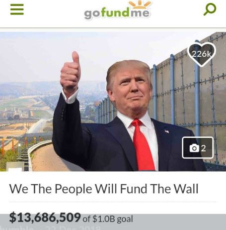"Photo of GoFundMe to refund all donations made for the ""Trump Wall"" campaign after falling short of its $1billion goal"