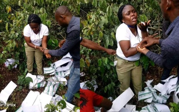 Photo of Female Corps member allegedly caught destroying ballot papers in the bush