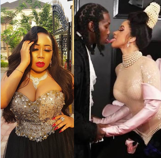 Photo of Moyo Lawal reacts to Cardi B and Offset's tongue action at the 61st Grammy Awards