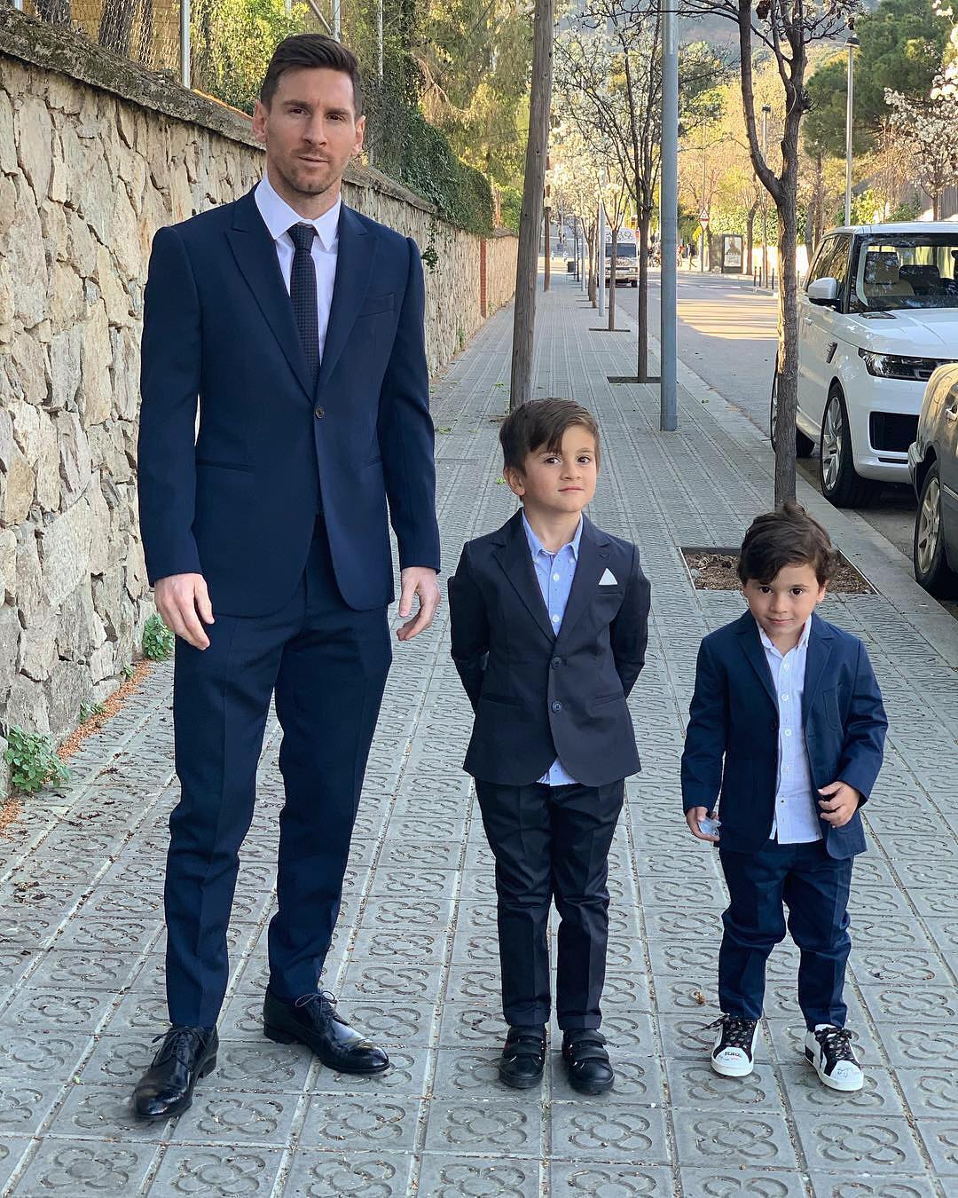 Photo of Lionel Messi and his sons look dashing as they suit up for dinner (Photos)