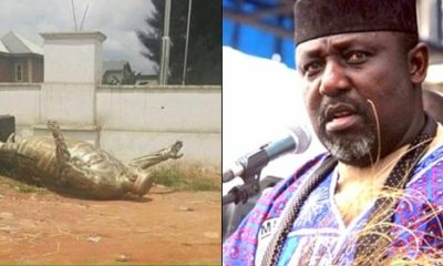 Imo State residents pull down Okorocha's statue