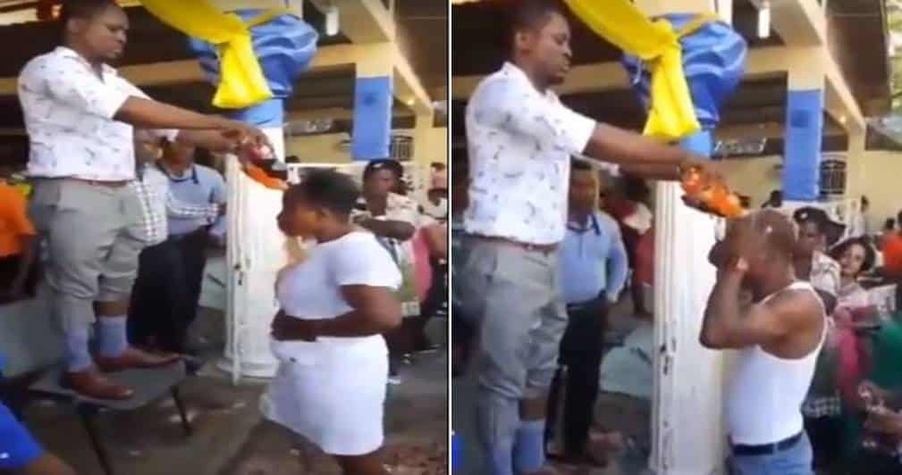 Photo of Pastor bathes members with bottles of soft drinks