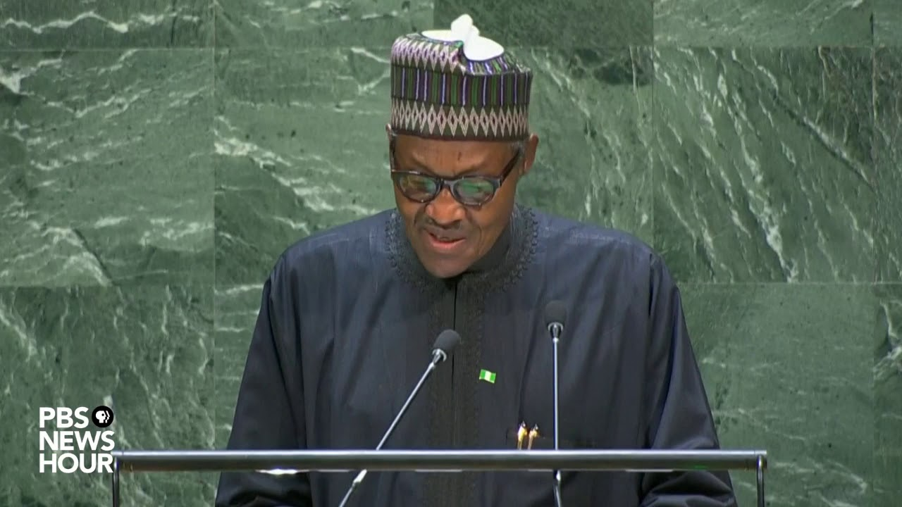 Video of President Buhari wrongly answering a question at the UN