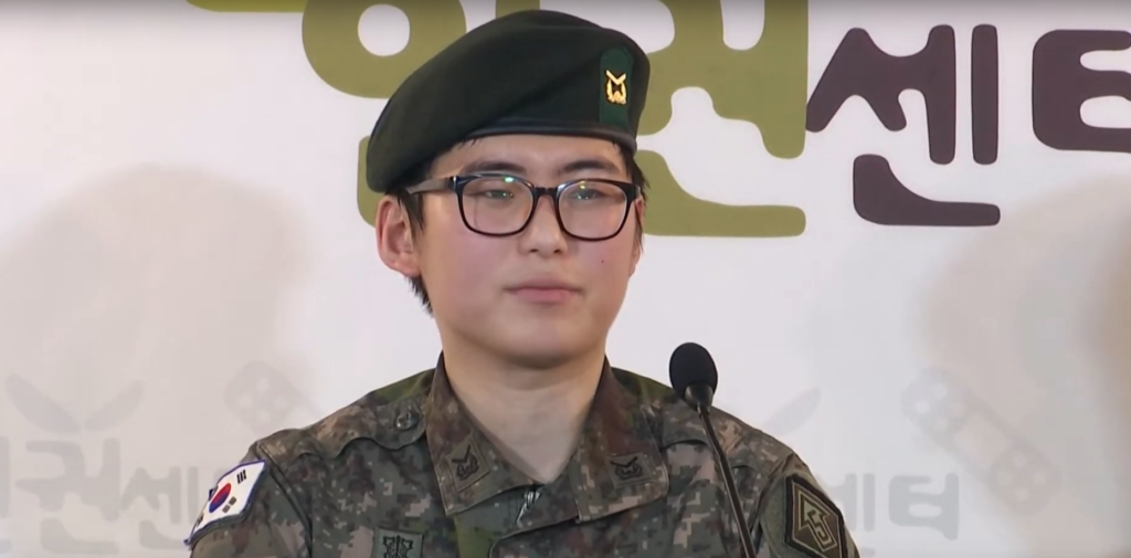 Photo of South Korea's first transgender soldier thrown out of the army