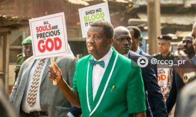 Pastor Adeboye leads protest against killing of Christians