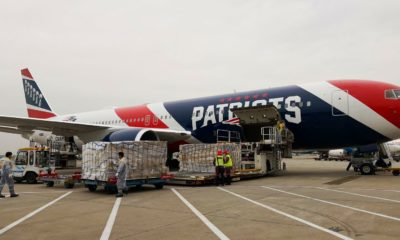 Patriots' plane delivers a million masks to U.S. from China