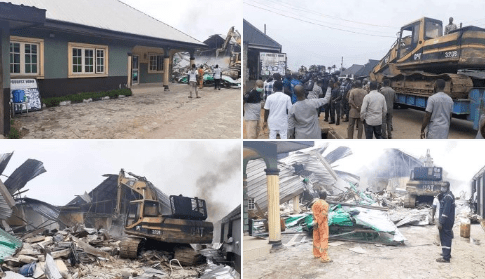 Photo of Wike supervises demolition of two hotels for violating lockdown rules (photos)