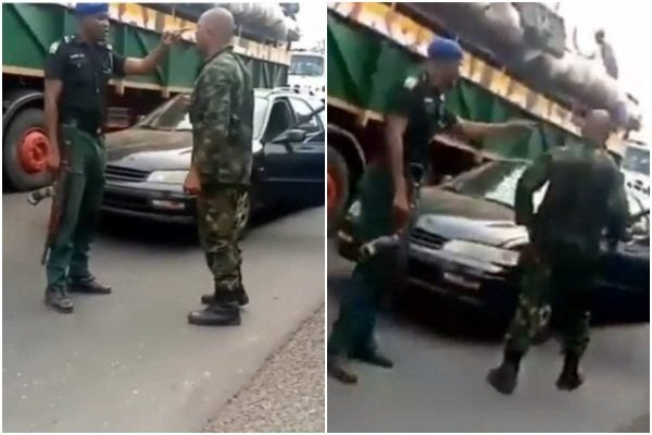 Photo of Video of soldier and mobile police officer fighting over superiority
