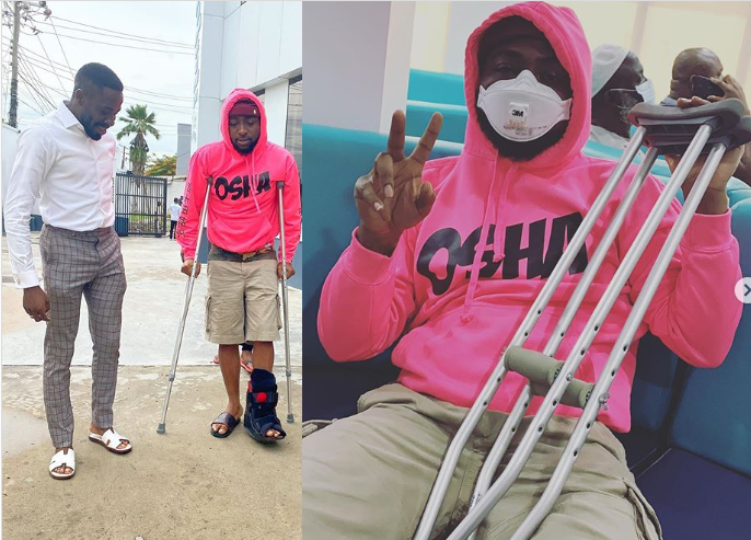 Photo of Singer Davido fractures his leg uses crutches (Photos)