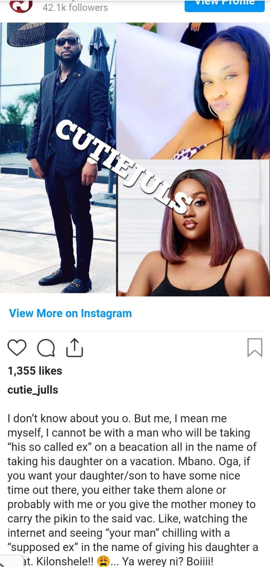 Davido snubs chioma on her sick bed
